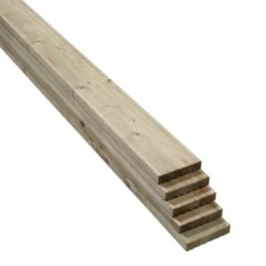 Value softwood reversible deck board w 120mm l 2400mm t for Cheap decking boards b q