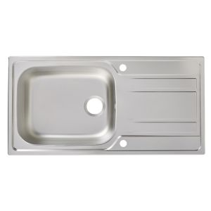 Cooke lewis lyell 1 bowl linen finish stainless steel sink drainer - Bq kitchen sinks ...