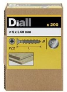 Diall Stainless steel Wood Screw (Dia)5mm (L)40mm  Pack of 200