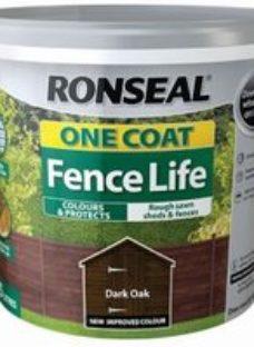 Ronseal One coat fence life Dark oak Matt Fence & shed Wood treatment 5L