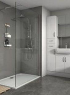 Splashwall Gloss Grey Tile effect 2 sided Shower Panel kit (L)1200mm (W)2420mm (T)3mm