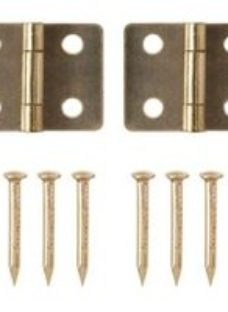 Brass-plated Metal Butt Door hinge (L)13mm  Pack of 2