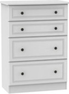 Polar Textured White 4 Drawer Chest (H)1080mm (W)770mm (D)410mm