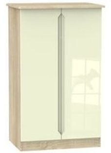 Monte Carlo Cream oak effect Midi Double Wardrobe (H)1270mm (W)770mm (D)540mm