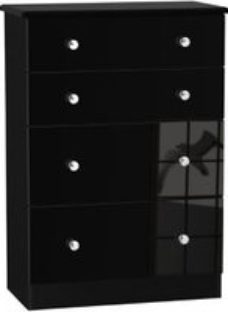 Noire High gloss black 4 Drawer Chest (H)1080mm (W)770mm (D)410mm