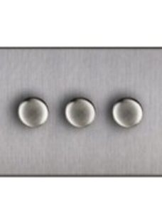 Varilight 2 way Double Stainless steel effect Dimmer switch