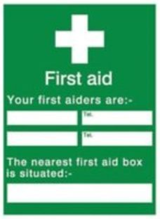 Your first aiders are Self-adhesive labels  (H)200mm (W)150mm