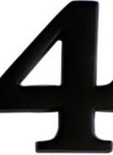 The House Nameplate Company Black Iron effect Metal Self-adhesive House number 4  (H)60mm (W)40mm