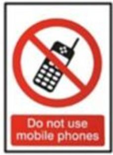Do not use mobile phones Self-adhesive labels  (H)100mm (W)100mm