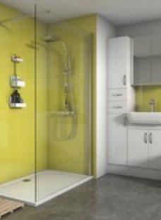 Splashwall Gloss Lemon 3 sided Shower Panel kit (L)1200mm (W)1200mm (T)4mm