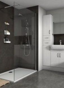Splashwall Silver oxide Shower Panel (H)2420mm (W)600mm (T)11mm