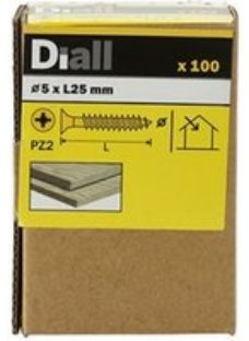 Diall PZ Double-countersunk Yellow-passivated Steel Wood screw (Dia)5mm (L)25mm  Pack of 100