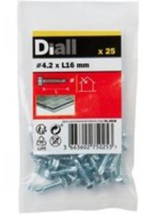 Diall Hex Zinc-plated Carbon steel Screw (Dia)4.2mm (L)16mm  Pack of 25