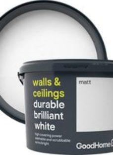 GoodHome Durable Brilliant white Matt Emulsion paint 10L