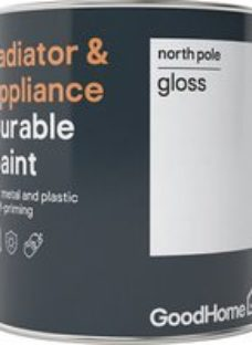 GoodHome Durable North pole (Brilliant white) Gloss Radiator & appliance paint  750ml