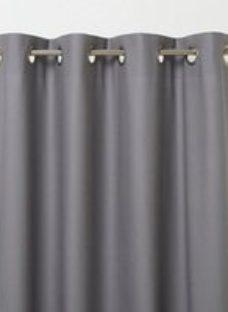 Hiva Grey Plain Unlined Eyelet Curtain (W)140cm (L)260cm  Single