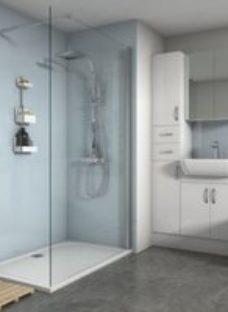 Splashwall Gloss Pale blue Shower Panel (H)2420mm (W)600mm (T)4mm