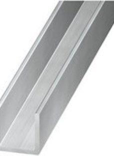 Silver effect Aluminium Equal U-shaped Angle profile  (L)2.5m (W)10mm