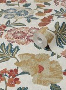 Graham & Brown Boutique Berkeley Multicolour Floral Metallic effect Textured Wallpaper