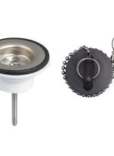 Wirquin Chrome-plated Black Plug & chain Basin Waste
