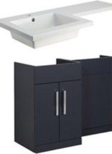 Cooke & Lewis Ardesio Matt Indigo & White Freestanding Vanity unit & basin set (H)820mm