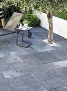 Natural limestone Blue-Black Paving slab (L)600mm (W)300mm