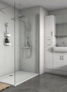 Splashwall Gloss White Tile effect Shower Panel (H)2420mm (W)1200mm (T)3mm