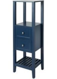 GoodHome Perma Satin Blue Tall Freestanding Bathroom Cabinet (W)402mm (H)1200mm