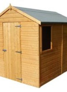 Shire Durham 8x6 Apex Dip treated Shiplap Honey brown Wooden Shed with floor (Base included) - Assembly service included