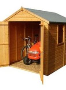 Shire Warwick 8x6 Apex Dip treated Shiplap Wooden Shed with floor (Base included) - Assembly service included