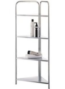 Cooke & Lewis Bank Silver 4 Shelf Corner shelving unit (H)960mm (W)315mm (D)215mm