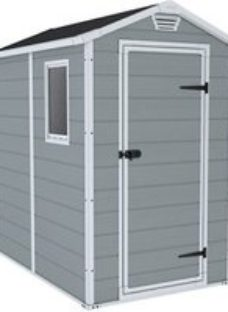 Keter Manor 6x4 Apex Grey Plastic Shed with floor