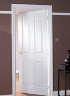 4 panel Primed White LH & RH Internal Door  (H)1981mm (W)610mm