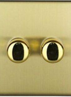 Varilight 2 way Single Brass effect Dimmer switch