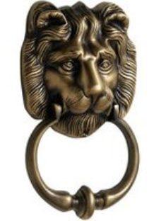 The House Nameplate Company Brass effect Metal Lion Door knocker