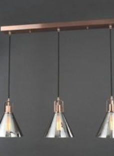 Dafyd Flush Antique copper & smoke 3 Lamp Ceiling light