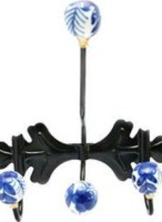 B&Q Black Porcelain & steel Hook (H)250mm