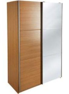Kendal Contemporary Mirrored Matt oak effect Wardrobe (H)2005mm (W)1200mm (D)575mm