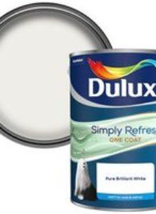Dulux One coat Pure brilliant white Matt Emulsion paint  5L
