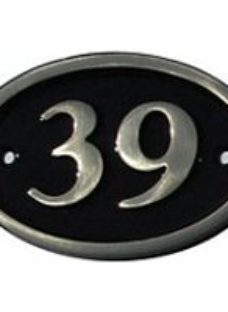 The House Nameplate Company Polished Black Brass Oval House number 39  (H)120mm (W)160mm
