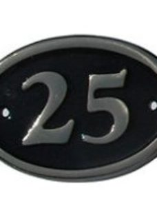 The House Nameplate Company Polished Black Brass Oval House number 25  (H)120mm (W)160mm