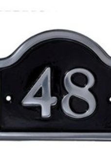 The House Nameplate Company Polished Black Aluminium House number 48  (H)120mm (W)160mm