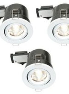 Diall Gloss White Adjustable LED Fire-rated Warm white Downlight 3.5W IP23  Pack of 3