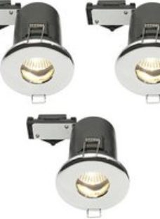 Diall Chrome effect Non-adjustable LED Downlight 3.5W IP65  Pack of 3