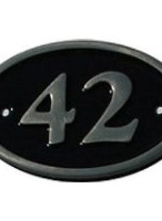 The House Nameplate Company Polished Black Brass Oval House number 42  (H)120mm (W)160mm