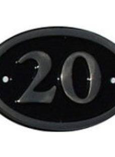 The House Nameplate Company Polished Black Brass Oval House number 20  (H)120mm (W)160mm