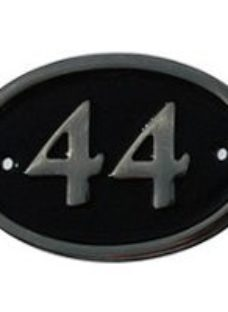 The House Nameplate Company Polished Black Brass Oval House number 44  (H)120mm (W)160mm