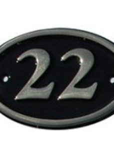 The House Nameplate Company Polished Black Brass Oval House number 22  (H)120mm (W)160mm