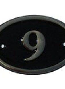 The House Nameplate Company Polished Black Brass Oval House number 9  (H)120mm (W)160mm