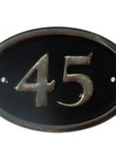 The House Nameplate Company Polished Black Brass Oval House number 45  (H)120mm (W)160mm